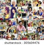 diversity college student... | Shutterstock . vector #305604476