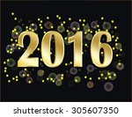 new year 2016 with bubbles and... | Shutterstock .eps vector #305607350
