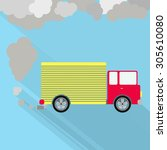 truck fuming. truck steaming... | Shutterstock .eps vector #305610080