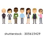 diverse businesspeople isolated ... | Shutterstock . vector #305615429