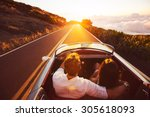 happy couple driving on country ... | Shutterstock . vector #305618093