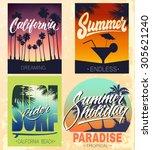 set of summer hand lettered... | Shutterstock .eps vector #305621240