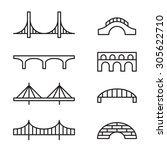 set of simple bridge line icons.... | Shutterstock .eps vector #305622710