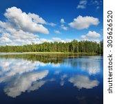a lake in estonia in beautiful...   Shutterstock . vector #305626520