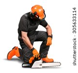 Small photo of Professional logger with chain saw, safety gear on