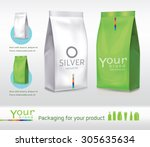 silver green bag package on a... | Shutterstock .eps vector #305635634