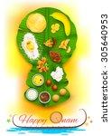 illustration of onam feast on... | Shutterstock .eps vector #305640953