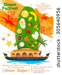 illustration of onam feast on... | Shutterstock .eps vector #305640956