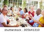 diverse people luncheon... | Shutterstock . vector #305641310