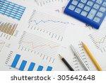 business concept  calculator ... | Shutterstock . vector #305642648