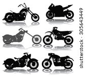 Set Of Motorcycles Silhouettes...
