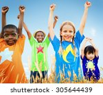 kids diverse playing sky field... | Shutterstock . vector #305644439