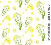 seamless rape plant  pattern ... | Shutterstock .eps vector #305657810
