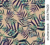 seamless pattern with tropical... | Shutterstock . vector #305679620