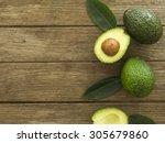avocado and sliced avocado... | Shutterstock . vector #305679860