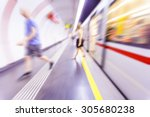 people walking in metro station ... | Shutterstock . vector #305680238