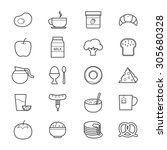 breakfast icons line | Shutterstock .eps vector #305680328