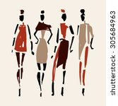women. hand drawn fashion... | Shutterstock .eps vector #305684963