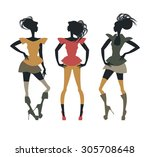 trendy sketch with stylish... | Shutterstock .eps vector #305708648