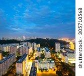 Singapore's Skyline And Hdb's...