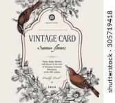 vector vintage floral card. two ... | Shutterstock .eps vector #305719418