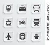 simple transport icons set.... | Shutterstock .eps vector #305725400