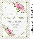 vector vintage card with pink... | Shutterstock .eps vector #305730749