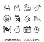 set of diet icons    black  ... | Shutterstock .eps vector #305731598