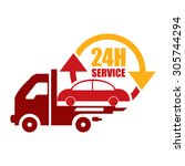 red 24h tow car service... | Shutterstock . vector #305744294