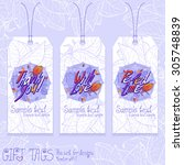 lilac day. gift tags. vector... | Shutterstock .eps vector #305748839