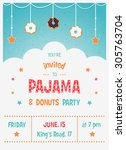 pajama and donuts kids' party... | Shutterstock .eps vector #305763704