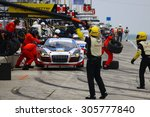 Elkhart Lake, Wisconsin USA - August 9, 2015: Road America road course, IMSA Pit STop for the Paul Miller Racing Audi R8 LMS - stock photo