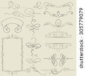 vector set. frames and borders. ... | Shutterstock .eps vector #305779079