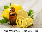 lemon essential oil and lemon... | Shutterstock . vector #305782040