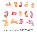 Stock photo set of sweet happy rabbit illustration watercolor rabbit silhouette mid autumn festival lovely 305786423