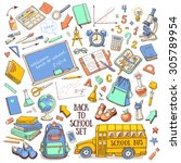 back to school hand drawn...   Shutterstock .eps vector #305789954