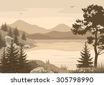 Landscape  Lake  Mountains Wit...