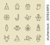 christmas icon set | Shutterstock .eps vector #305814893