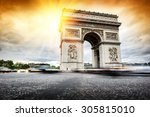beautiful sunset over arc de... | Shutterstock . vector #305815010