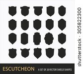 a set of 20 vector shield shapes | Shutterstock .eps vector #305822300