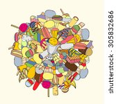 set of ice cream  hand drawn ... | Shutterstock . vector #305832686