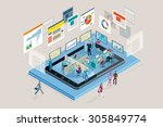 web analysts working in a... | Shutterstock .eps vector #305849774