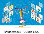 businessman and businesswoman... | Shutterstock .eps vector #305851223