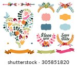 set of cute decorative elements ... | Shutterstock .eps vector #305851820