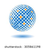 abstract blue sphere. made by... | Shutterstock .eps vector #305861198