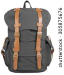 gray hipster backpack  with... | Shutterstock . vector #305875676