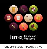 flat icons set 43   castle and...