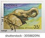 tanzania   circa 1991  a 35... | Shutterstock . vector #305882096