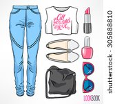 woman's summer outfit. jeans... | Shutterstock .eps vector #305888810