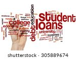 student loans concept word... | Shutterstock . vector #305889674